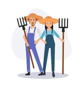 Set van mannelijke en vrouwelijke boer houdt een hark. platte vector 2d cartoon karakter illustratie.