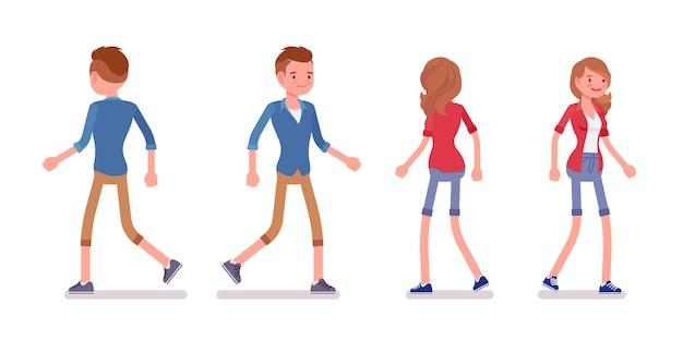 Set van mannelijke en vrouwelijke millennial in walking pose
