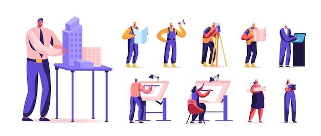 Set van mannelijke en vrouwelijke personages bouw- en constructiewerkzaamheden Premium Vector