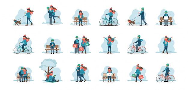 Set van mannelijke en vrouwelijke personages buiten in winterkleren