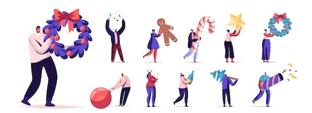 Set van mannelijke en vrouwelijke personages met nieuwe jaar dingen. mannen en vrouwen met versierde krans, kerstboom en confetti, kerstbal en snoep geïsoleerd op een witte achtergrond. cartoon mensen illustratie