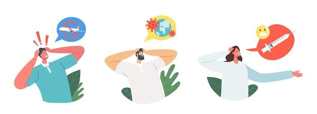Set van mannelijke en vrouwelijke personages met verschillende soorten angst. mensen met een fobie om met het vliegtuig te vliegen, wereldwijde pandemie van het coronavirus, bang om injectiespuiten te maken. cartoon vectorillustratie