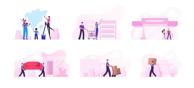 Set van mannelijke en vrouwelijke personages verhuizing naar een nieuw huis, huisrenovatie en familie winkelen tijdens covid19 pandemic en coronavirus quarantaine self isolation. cartoon mensen vectorillustratie