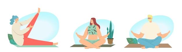 Set van mannelijke en vrouwelijke personages yoga, sportactiviteiten en meditatie. mensen die sporten, sporten, fitnessen, trainen in verschillende poses, stretchen, gezonde levensstijl. cartoon vectorillustratie