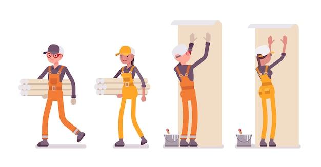 Set van mannelijke en vrouwelijke werknemer met achtergronden, lichte overall dragen