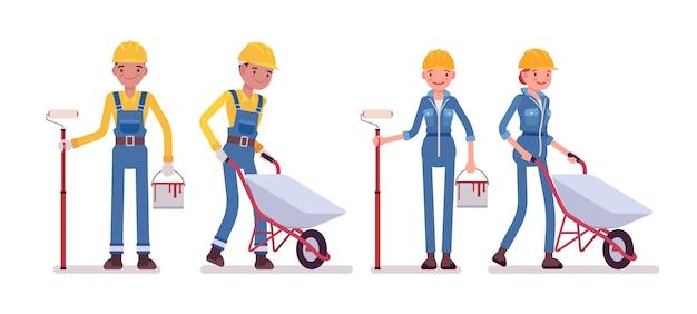 Set van mannelijke en vrouwelijke werknemer met kruiwagen en verf