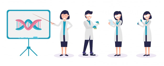 Set van mannelijke en vrouwelijke wetenschapper en scheikunde lab werknemer illustratie premium vector