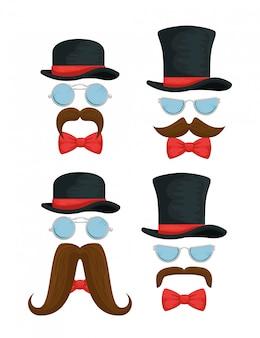 Set van mannelijke hoed met bril, strikjes en snorren