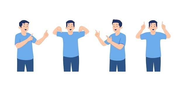 Set van mannelijke karakter in vrijetijdskleding wijzende vinger in verschillende richtingen concept illustratie