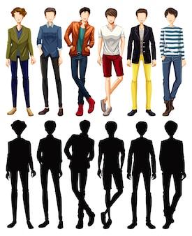 Set van mannelijke karakter met zijn silhouet