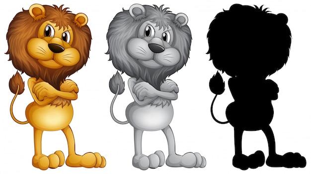 Set van mannelijke leeuw staan