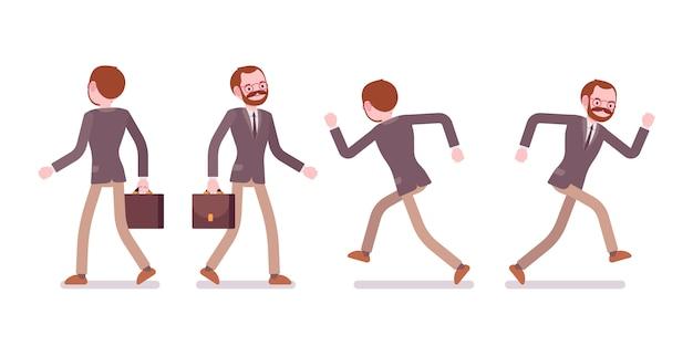 Set van mannelijke leraar lopen en rennen, achter, vooraanzicht