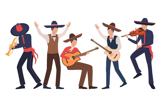 Set van mannelijke mexicaanse muzikanten