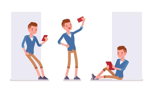 Set van mannelijke millennial met gadgets