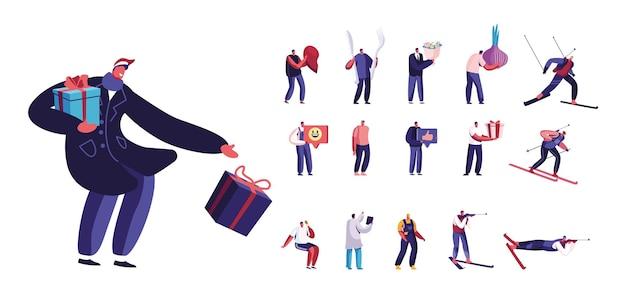Set van mannelijke personages met kerstcadeaus, gebroken hart, vork en lepel. mannen met ui, ijs. bloemen, skiën of biatlon sport geïsoleerd op een witte achtergrond. cartoon mensen vectorillustratie