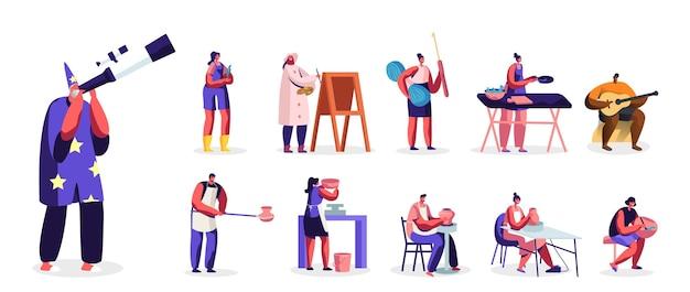 Set van mannelijke vrouwelijke personages die zich bezighouden met hobby