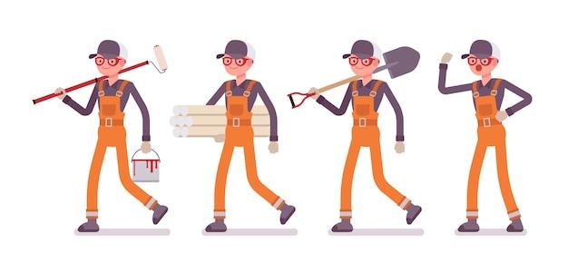 Set van mannelijke werknemer in oranje algemeen met verschillende hulpmiddelen