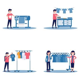 Set van mannelijke zeefdruk op t-shirt drukmachine en vrouwelijk verkoop- en koopdoek