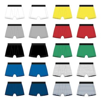 Set van mannen boxershorts sjabloon