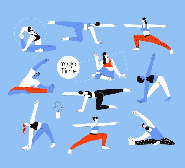 Set van mannen en vrouwen figuren in de yoga houdingen op een blauwe achtergrond in een vlakke stijl