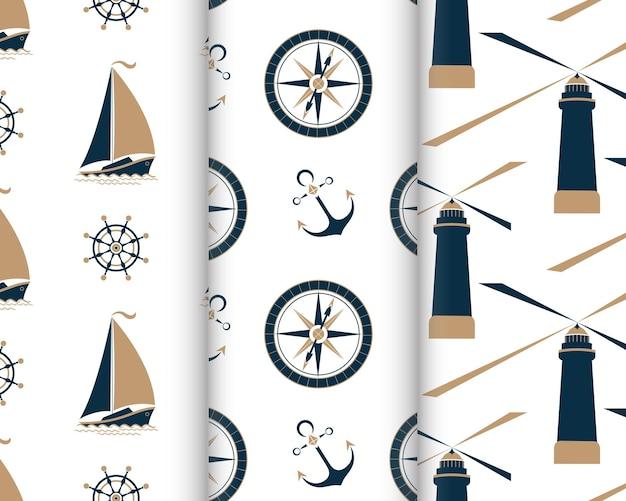 Set van mariene naadloze patronen met schip, anker, nautisch kompas, vuurtoren, kapiteinswiel.