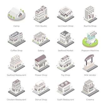 Set van marktgebouwen isometrische pictogrammen