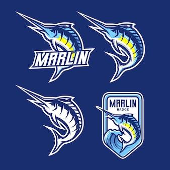 Set van marlijn vis logo