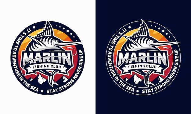 Set van marlin visserij club logo ontwerp