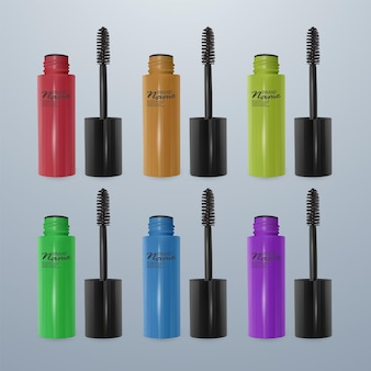 Set van mascara's voor wimpers kleurrijke, 3d-realistische illustraties,