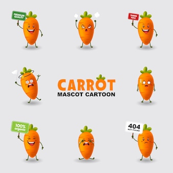 Set van mascotte cartoon illustratie wortel in verschillende vormen geïsoleerde achtergrond
