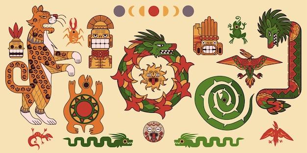 Set van maya of azteekse patronen Gratis Vector