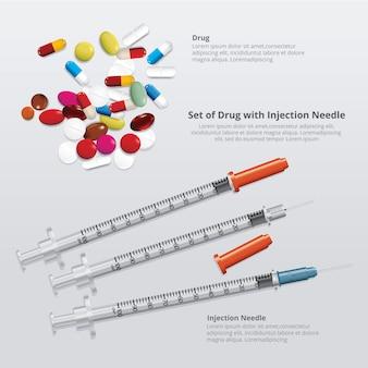 Set van medicijnen met injectienaald realistisch