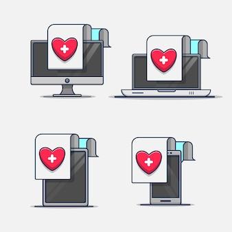 Set van medisch gezondheidsrapportdocument in het pictogram van de illustratie van het apparaat