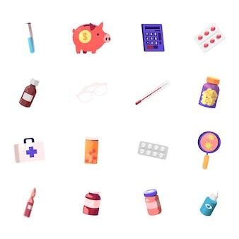 Set van medische kosten, glazen kolf, spaarvarken en rekenmachine met tablettenblister, fles met medicijn, thermometer en bril, instrumentendoos, ziektekiemen en oogoplossing
