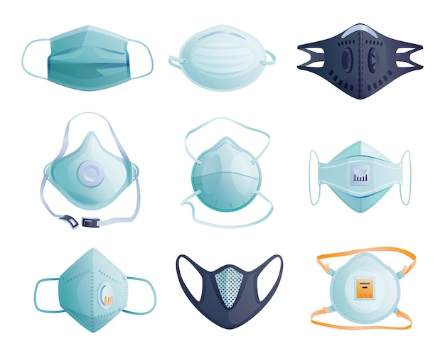 Set van medische maskers om coronavirus, infecties en besmette lucht geïsoleerde cartoonpictogrammen te beschermen