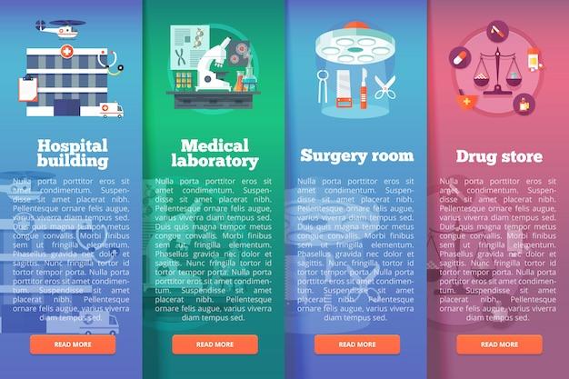 Set van medische wetenschap s. medische en gezondheidszorg verticale lay-outconcepten. moderne stijl.