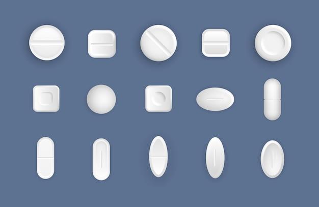 Set van medische witte pillen. platte en bolle tabletten in 3d-stijl. medicijnen zijn ronde witte medicijnen, aspirine, antibiotica, vitamines en pijnstillers. het concept van geneeskunde en gezondheidszorg. .