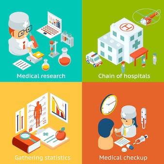 Set van medische zorgillustraties.