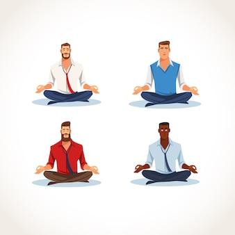 Set van mediteren zakelijke mensen platte vectoren