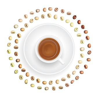 Set van medium geroosterde arabica en robusta koffiebonen geïsoleerd