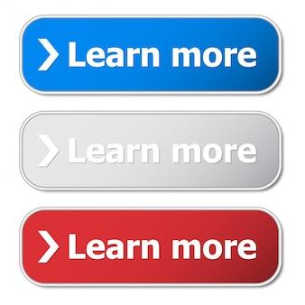 Set van meer leren knop met metalen frame en schaduw
