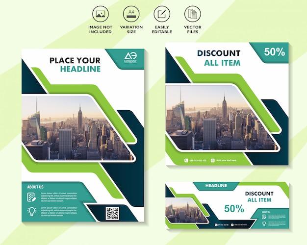 Set van mega sale-flyer en banner met de beste kortingsaanbiedingen
