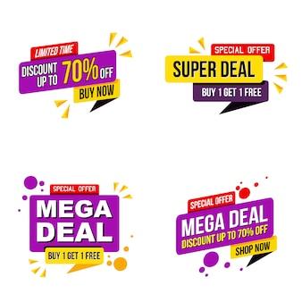 Set van mega verkoop promotie banner moderne sjabloon