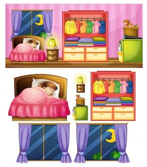Set van meisje in de slaapkamer