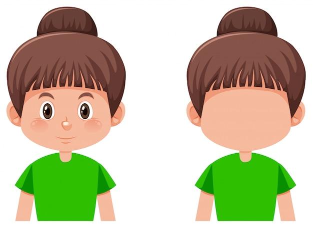 Set van meisje met donkerbruin haar haar