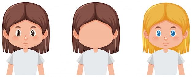 Set van meisje met verschillende haarkleur