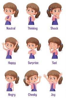 Set van meisje met verschillende uitdrukkingen op haar gezicht