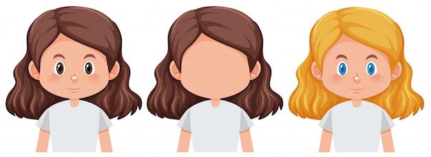 Set van meisje verschillende kapsel