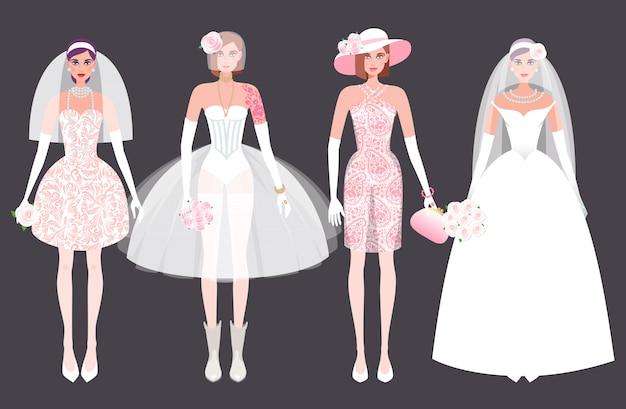 Set van meisjes bruid in een trouwjurk.