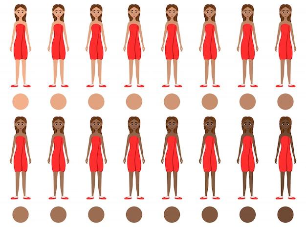 Set van meisjes met verschillende huidskleuren van licht tot donker